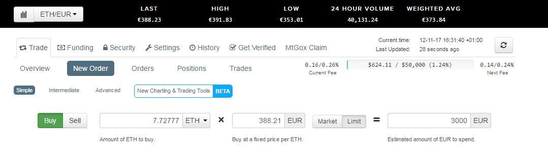 Proceso de compra de Ethereum